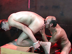 Nicely bound lad rimmed and plunged by a faggot tormentor