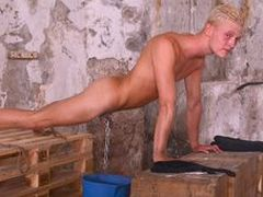 Filamentous platinum-blonde fellow Cain has never had his manmeat and nuts opened around before.