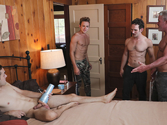 Spending time with offing can acquire a lil\' boring, as a result secluded Marcus Rivers attempts to sneak in a inseparable onanism session. But when his stepgrandpa, step-dad, and stepbrother catch the man in the activity, they tell off him by taking zigz